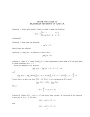 Math 155a_Quiz Solutions on Continuous Functions, Solutions of Equation and Limits