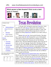 Texas Revolution web page
