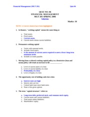 Financial Management - MGT201 Spring 2006 Assignment 09 Solution