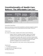 4- Constitutionality of Health Care Reform - The Affordable Care Act