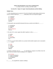 SCM Ch. 10 Test Review with Answers