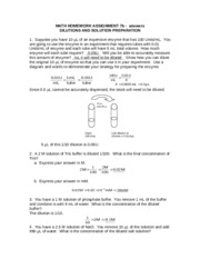 Dilutions and Solution Preparation Answers