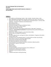 PSY 223A INTRODUCTION TO PSYCHOLOGY Study Guide Ex.docx