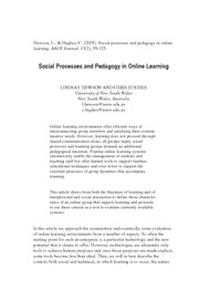 Social Processes and Pedagogy in Online Learning