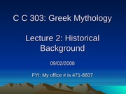 Greek Mythology, Lecture 2