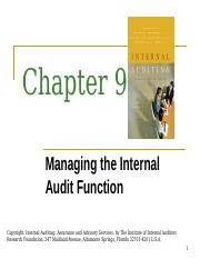 Chapter 9 - Managing the Internal Audit Function