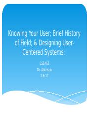 History of Field & User-Centered Design (2.6.17)