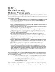 ML-practicemidterm pdf - CS 4641 Machine Learning Midterm Practice