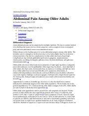 Abdominal Pain Among Older Adults 1
