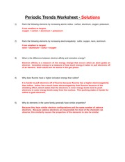 Periodic Trends Worksheet - Periodic Trends Worksheet ...