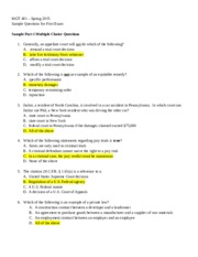 MGT 401 Sample Questions for Exam 1