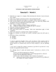 Tutorial Worksheet - Tutorial 5