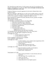 Unit 2 Test Study Guide for American Gov't 1101