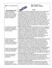 W HIST Cornell Notes- Renaissance and Education