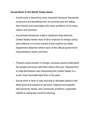 Social Work in the World Today Notes