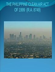 philippine clean air act ra 8749 Congress of the philippines metro manila eleventh congress republic act no 8749 june 23, 1999 an act providing for a comprehensive air pollution control policy and for other purposes.