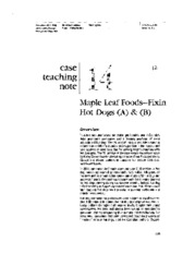 Maple Leaf Consumer Foods A & B - (Teaching Note)