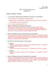 BIOL 215 Final Exam Review - Chapters 8-11 answers