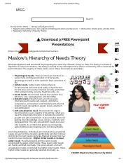 Maslows Hierarchy of Needs Theory