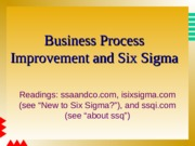 UBUS 310 Management BPI & Six Sigma