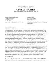 POL1025 Global Politics Syllabus