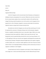 Augustine Reflection Paper