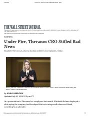 Under Fire, Theranos CEO Stifled Bad News - WSJ