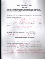 Math 55 Test #3 (Chapters 7-8) Fall 2014 SOLUTIONS