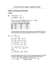Chemistry for Engineers - Assignment 4 Solutions