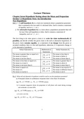 Chapter Seven Hypothesis Testing about the Mean and Proportion Notes