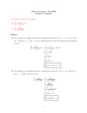Exam 1 Solution on Calculus II Fall 2008