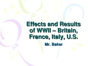 Effects of WWII - Britain France Italy US