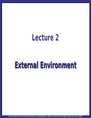 Strategic Management Lecture 02 - External Environment
