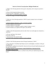 Biological Membranes MCQ Answers Fall 2014