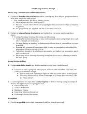 Small Group Interview Study Guide