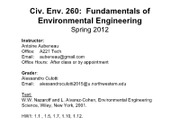 CE 260 2012 - Lecture 1 Env problems, challenges, processes, and solutions(1)