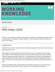 HBS Cases LEGO - HBS Working Knowledge - Harvard Business School