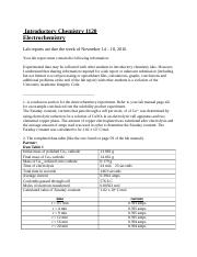 Electrochemistry Lab Report - Introductory Chemistry 1120