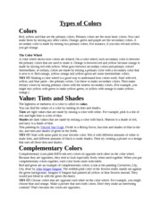 Types of Colors Notes