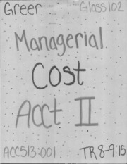 ACC 513 Managerial Cost ACCT II_Part1