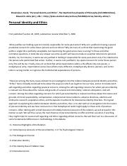 IP - Problem of Identity - SEP Article on Personal identity and ethics (David Shoemaker).pdf