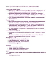 Notes Legal And Ethical Environment of Business Critical Legal Studies