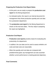 Preparing the Production Cost Report Notes