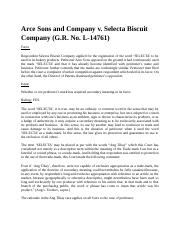 (06.1) Arce & Sons v. Selecta Biscuit Co., Inc. (G.R. No. L-14761)