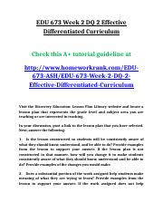 EDU 673 Week 2 DQ 2 Effective Differentiated Curriculum.doc
