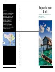 Travel brochure to Bali