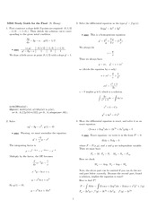 Final Exam Study Guide Solution Fall 2007 on Differential Equations with Linear Algebra 1