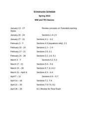 SI Instructor Schedule Math 103 TR Spring 2014