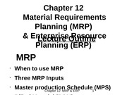 Chapter 12 - MRP and ERP