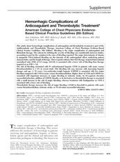 Hemorrhagic Complications of Anticoagulant and Thrombolytic Therapy